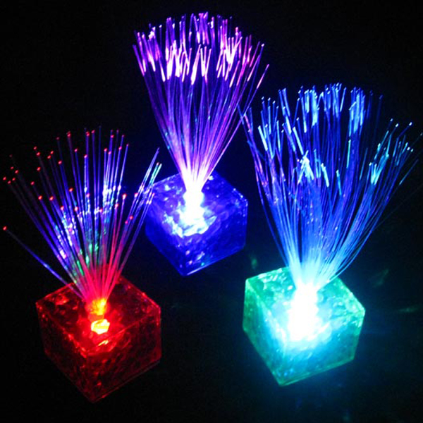 7 Color Changing Optical Fiber Flashing LED Cube Night Light Lamp Home Decor