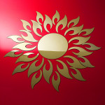 Akryl 3D Solsikke Spejl Effect Wallstickers Decal Boligudstyr
