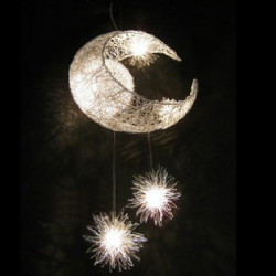 Aluminium Wire Moon Stjärna Pendant Lamp