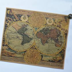 Ancient World Map Kraft Paper Sticker Chart Poster