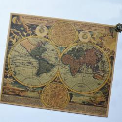 Forntida Världskarta Kraft Papper Klistermärke Kartlägger Affischen