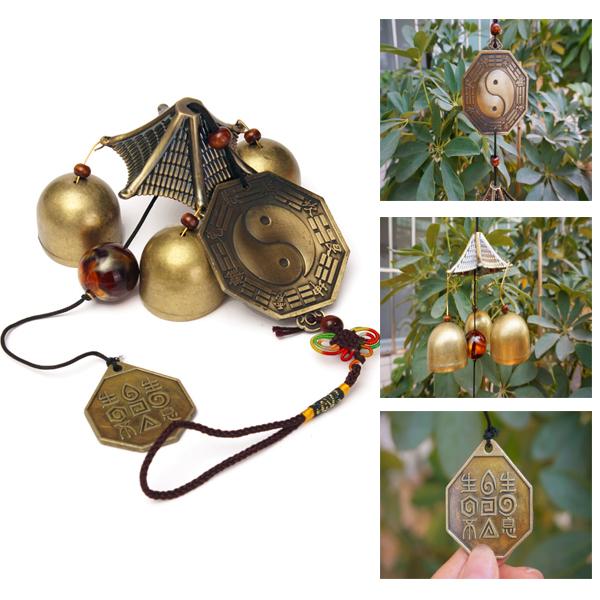 Antike Bronze Gossip Windchime im Freien Garten Windspiele Three Bells Haus Dekoration