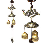 Antique Bronze Peacock Windchime Chapel Church Bells Wind Chimes Home Decor