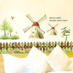 Bedroom Wall Sticker Background Windmill Decoration Wall Stickers