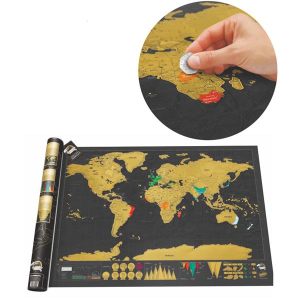 Schwarz Luxus Scratch Weltkarte Zylinder Verpackung Heimdekor Geschenk Haus Dekoration