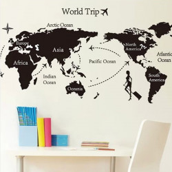 Black Universal Travel World Map Wall Sticker Eco-friendly Decoration