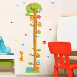Tecknad Filmdjur Tree Väggdekal Barn Mätning Väggdekal