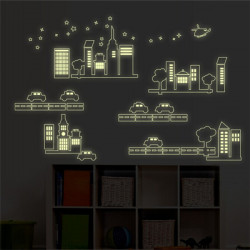 Cartoon City Luminous Wall Sticker For Kid Rooms Fluorescent Decals