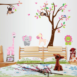 Cartoon Monkey And Trees Wall Stickers Kids Room House Decoration