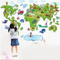 Tecknad Plane Djur Grön World Map Removable Väggdekal Heminredning
