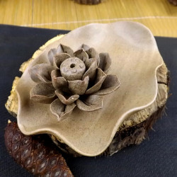 Ceramic Coarse Pottery Lotus Incense Holder Incense Burner Gift