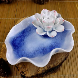 Ceramic Incense Burner Single Hole Blå Lotus Ice Crack Incense Seat
