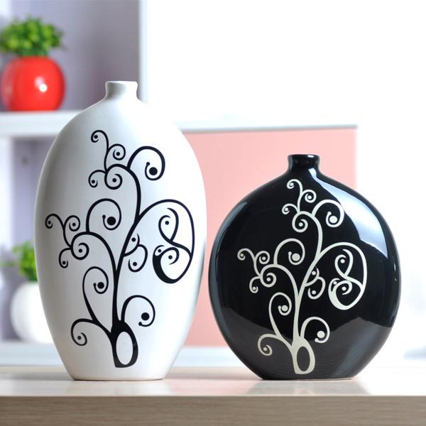 China Keramik Schwarzweiß Vase Keramik Handwerk Wohnkultur Haus Dekoration