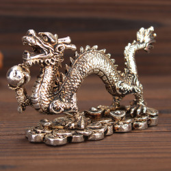 Chinese Carving Handcraft Dragon Old White Copper Dragon Antique Collection