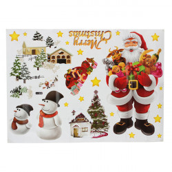 Christmas Santa Snowman House Window Decoration Wall Sticker