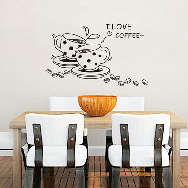 Coffee Restaurant Wall Sticker 3D Home Decration Art Wallpaper Home Decor