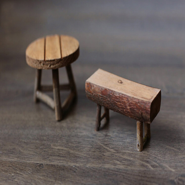 Rå Wood Litet Bord Pall Mini Bord och Bänk Trädgård Dekoration Heminredning