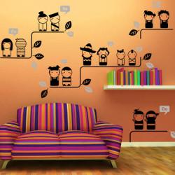 Gullig Tecknad Dockor Bedroom TV Inställning Klistermärken Väggaffisch