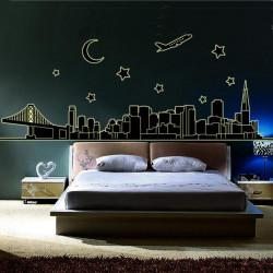 DIY City Silhouette Luminous Fluorescent Wall Stickers