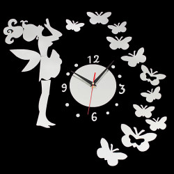 DIY Fairy Butterfly Acrylic Wall Sticker Clock Home Decoration
