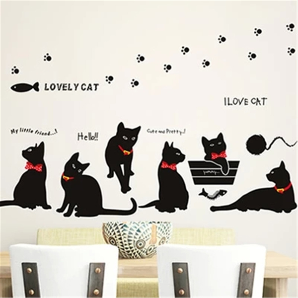 DIY Family Black Cats Wall Sticker Removable Wall Art Home Decor Home Decor