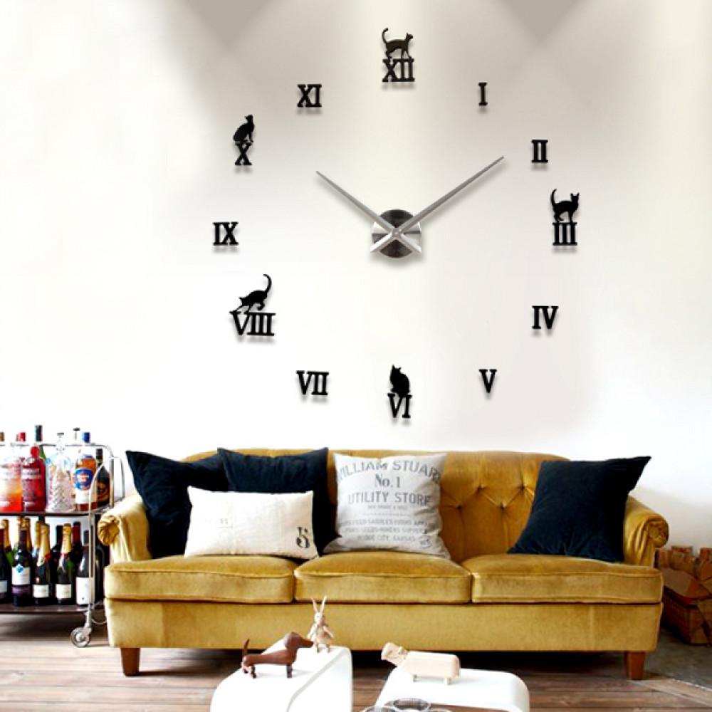 Buy DIY Large Wall Clock 12D Cute Cat Mirror Wall Clock Sticker ...