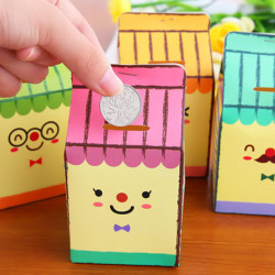 DIY Milk Shape Coin Saving Box Storing Money Piggy Bank