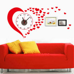 DIY PVC Red Heart Love Wall Clock Stickers Home Decoration Home Decor