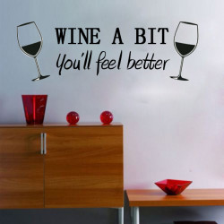 DIY Wine A Bit Wall Sticker Removable Room Kitchen Decor