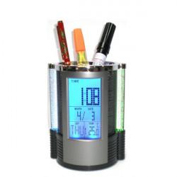 Digital LCD Schreibtisch Wecker Netzstifthalter Kugelschreiber Büro LED Licht