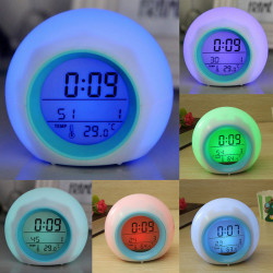 Digital LED 7 Farbwechsel Wecker Thermometer Nature Sound