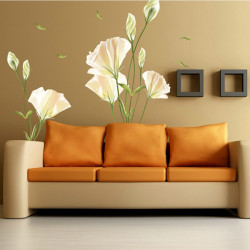 Flower Wall Stickers TV Background Removable Decals