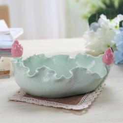 Färska Lotus Leaf Askfat Penna Tvätta Keramik Hantverk Hem Dekorationer