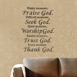 Lyckligt Ögonblick Prisa Gud Removable Väggdekal Fras Word Heminredning