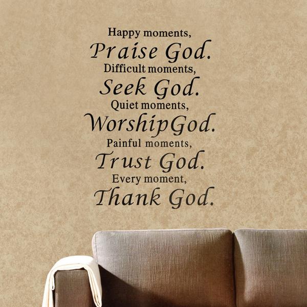 Lyckligt Ögonblick Prisa Gud Removable Väggdekal Fras Word Heminredning Heminredning