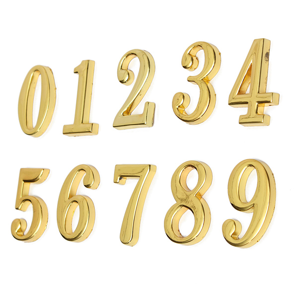 House Hotel Golden Doorplate Number 0-9 With Screws Home Decor