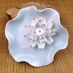 Jingdezhen Keramik Crafts White Lotus Räucherstäbchen Stecker Home Decoration