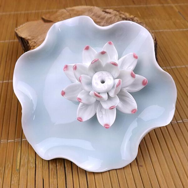 Jingdezhen Keramiskt Hantverk White Lotus Rökelse Plug Heminredning Heminredning