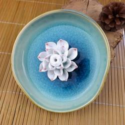 Jingdezhen Ceramic Lotus Incense Burner Bule Lotus Incense Plug