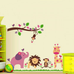 Jungle Animals Giraffe Lion Monkey Elefant Wallstickers Kid Rum Decor