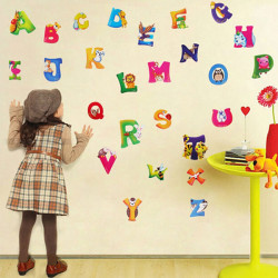 Kids Early Learning Animal Alphabet Wall Sticker DIY Room Decoration