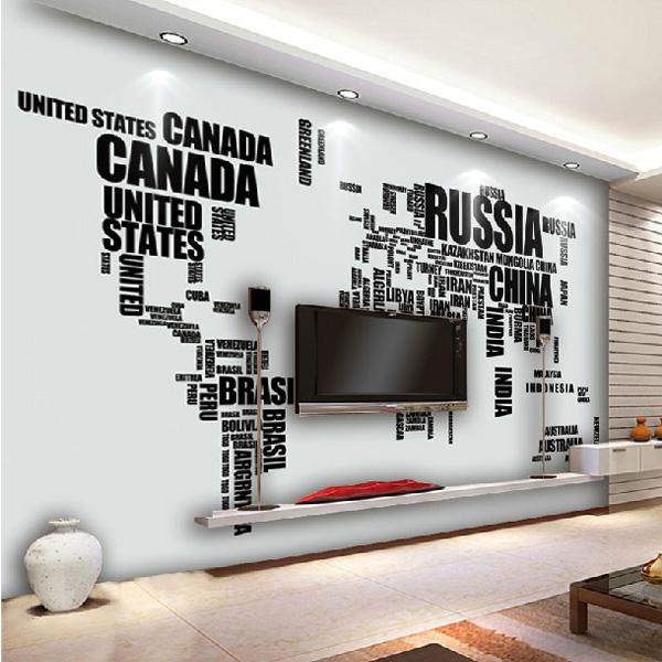 Große englische Alphabet Weltkarte entfernbare Wand Aufkleber Aufkleber Haus Dekoration