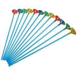 Lot Of 100 Pcs Blue Balloon Sticks with Multicolor Cups