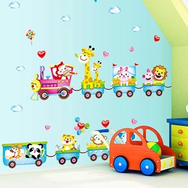 Dejlig Cartoon Tog Dyr Removable Wallsticker for Kids Bedroom Boligudstyr