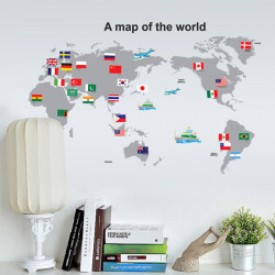 Map Of The World Flag Removable Wall Sticker Decal Home Decor