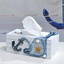 Medelhavsstil Blå och Vit Vävnad Lådor Papper Servett Box