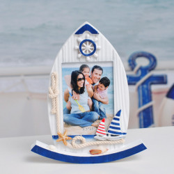 Mediterranean Style Wood Sailboat Frame Creative Furnishing Articles