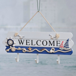 Mediterranean Style Wooden Decoration Welcome Doorplate