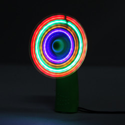 Mini Portable Colorful Flashing Battery Cooling Fan with LED Light