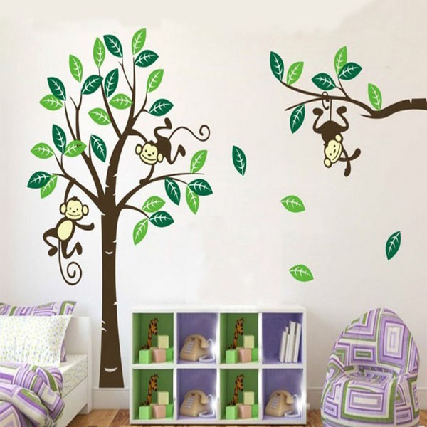 Monkey On Tree Art Removable Wall Stickers Baby Room Home Decal Decor Home Decor